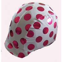 Ecotak lycra helmet cover - White with metalic pink polka dots.