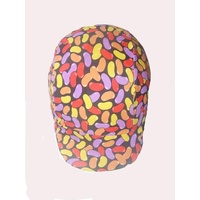 Ecotak lycra horse helmet cover - Black with Jelly beans