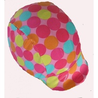 Ecotak lycra helmet cover - Pink with coloured spots