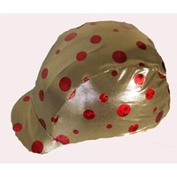 Ecotak lycra helmet cover - gold with red spots.