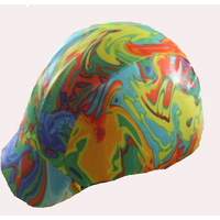 Ecotak dark rainbowed colours lycra helmet cover