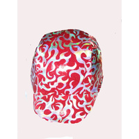 Ecotak red with silver flame pattern lycra horse helmet cover