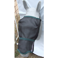 Ecotak Fly Mask/Veil with contoured nose flap Black with Bottle Green Trim
