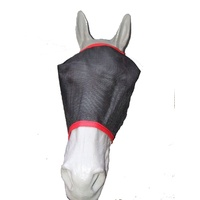 Ecotak Black Fly Mask/Veil with Red Trim
