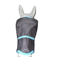 Ecotak Fly Mask/Veil with contoured nose flap Black with Aqua Trim