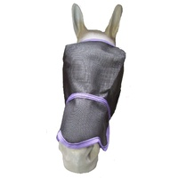 Ecotak Fly Mask/Veil with contoured nose flap Black with Purple Trim