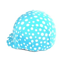 Ecotak lycra helmet cover - Aqua with white spots