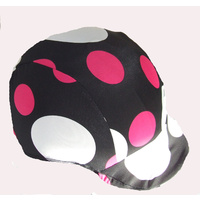 Ecotak lycra helmet cover - black with pink & white spots
