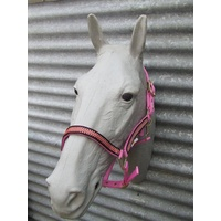 Ecotak pink halter/headstall with houndstooth pattern full