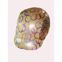Ecotak gold with multi coloured circles lycra horse helmet cover