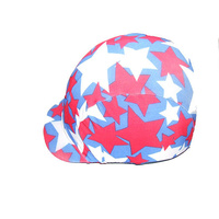 Ecotak lycra helmet cover - Royal blue with white & red stars