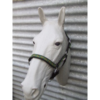 Ecotak black halter/headstall with green pattern PONY