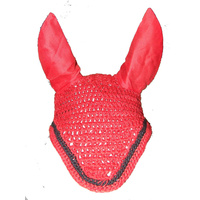 Ecotak Crochet Bonnet/Ear Net - Red with black trim Full size