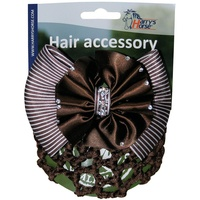 Harry's Horse Hair Bun Net with Clip - Brown with Rhinestones.