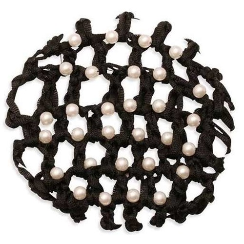 Ecotak Crochet Bun Net Cover - Black with Pearls.