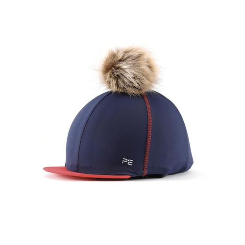 Premier Equine PEI Jersey Hat Silk with faux fur pom pom - navy/red