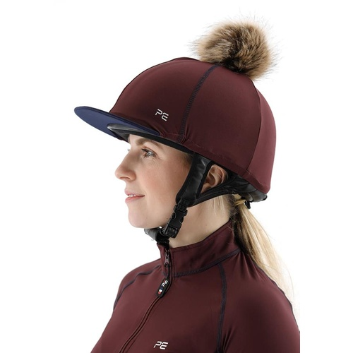 Premier Equine PEI Jersey Hat Silk with faux fur pom pom - wine/navy