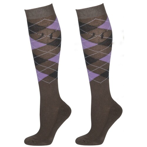 Harry's Horse Knee High Argyle Long Socks - grey & lilac szL