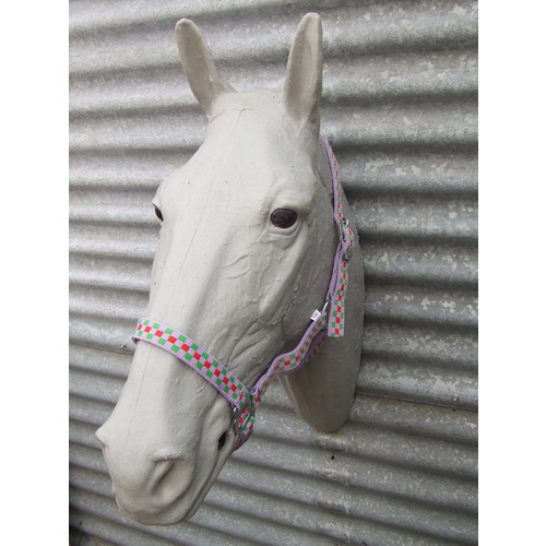 Ecotak purple check halter/headstall pony