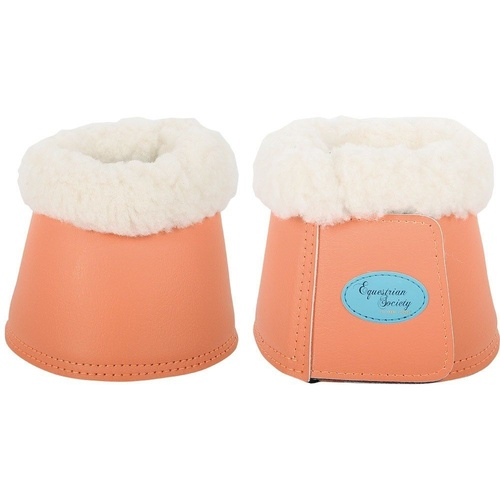 Harrys Horse Leather Over-reach Bell boots with Fleece Living Coral Large