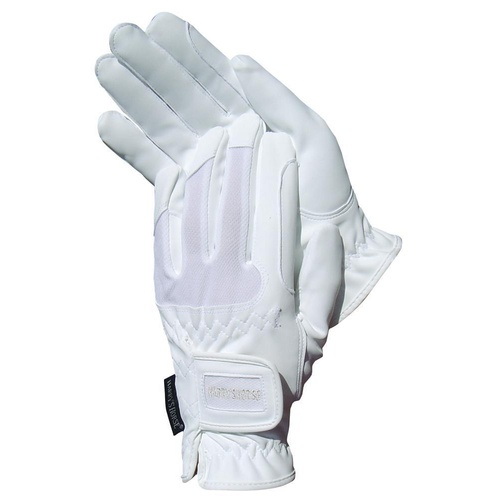 Harry's Horse White Domy Suede Gloves with Mesh - medium